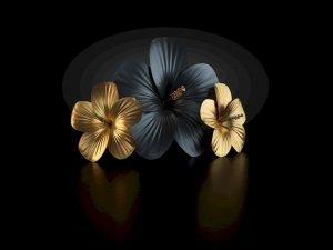 sztuczne kwiaty w czarnej i zlotej barwie
